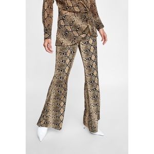 Zara | Snakeskin Print Flared Pants M